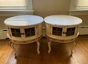 Antique French Provincial Pair Of Side Tables Night Stands Marble Top
