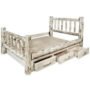 Log Bed Queen Storage Beds Dovetail Drawers Amish Made Lodge Cabin Furniture