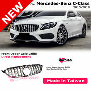 Upper Front Bumper Grille Gt Style For 15-18 Benz C Class W205 With Gold Trim