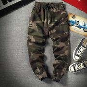 Mens Elastic Waist Camouflage Harem Pants Loose Fit Hip Hop Trousers Outdoor New