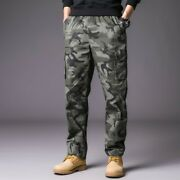 Men's Cargo Pants Japanese Casual Straight Camouflage Trouser Overalls Loose Fit