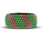 1.40 Ct Natural Ruby Emerald Gemstone Band Solid 950 Platinum Rings Size 6 5 7