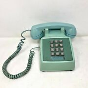 Vtg Pacific Telephone Touch Tone Teal Phone For Parts Not Working Push Button