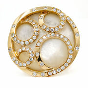 Mother Of Pearl Diamond Fashion Ring In 18k Rose Gold Signed 1.00 Ct Tw