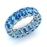 3.40 Ct Natural Blue Topaz Gemstone Eternity Band 14k Real White Gold Size 6.5 7