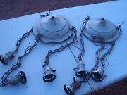 Rare Vintage Weber Ceiling Light Fixtures Hanging Pair Of 2 For Fixing