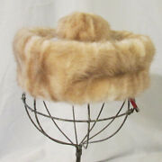 Vintage Robinaire Blonde Mink Pillbox Hat With Topknot And Hair Clips