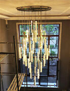 Large Dimmable Led Crystal Chandelier Luxury Stair Lamp Long House Hall Lighting