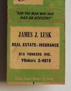 1950s Lusk Real Estate Insurance Yonkers Ny Westchester Co Matchbook New York