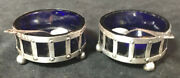 Pair Of Sterling Silver Arts And Crafts Style Open Salt Cellars Cobalt Glass +dips