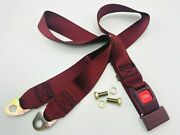 2 Point Lap Seat Belt Vintage Push Button Release Latch With Bolts Burgandy 90