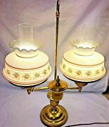 Vintage Double Arm Student Table Lamp Two Quoizel Floral Hurricane Glass Shade
