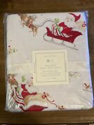 Pottery Barn Kids Santa Sleigh Flannel Fitted Crib Sheet New