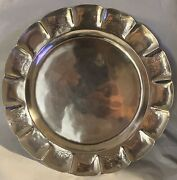 Vintage Sanborns Mexico Sterling Silver Round Embossed Serving Tray 14.1oz/399gr