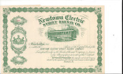 Newtown Electric Street Railway Co....1800and039s Unissued Common Stock Certificate