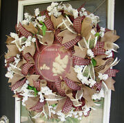 Country Hens Rustic Farmhouse Deco Mesh Front Door Wreath Rooster Chicken Decor
