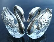 Crystal Swans Salt Cellars Movable Wings Open With Spoons Italy Vgc Vintage Pair