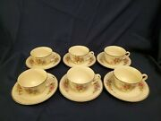 Set Of 6 Hall's Superior Quality Dinnerware Morning Glories Cup And Saucer Sets