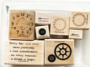 Stampin Up Itand039s About Time Set 8 Wood Rubber Stamps Time Clock Gears Date Stamp