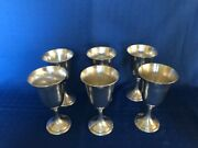 Alvin Sterling Six Water Goblets M157-1 6 1/2 Tall