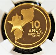 Mozambique Gold Independence Anniversary 2000 Meticais 1985 Pr69 Uc Ngc. Rare