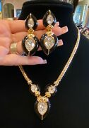 Vintage Christian Dior Gold Plated Crystal Statement Necklace And Earrings Set