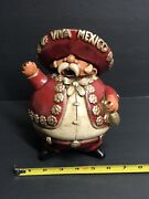 Vintage Mariachi Piggy Bank With Bottle Of Beer.
