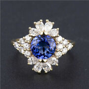 Natural Diamond Round Aaaa Blue Tanzanite Cocktail Ring Solid 14k Yellow Gold