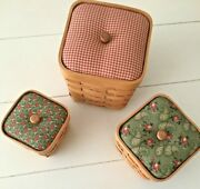 Set Of 3 Hand Woven Wood Farmhouse Nesting Baskets Boxes Country Primitive Vtg