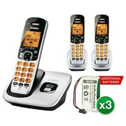 Uniden D1760-3 With Additional Battery Dect 6.0 Cordless Phone W/ 2 Extra