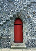 Art-print-anonymous-photography-red-door-under-the-stairs-on-paper-canvas-or-fr