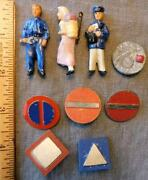 Whw Lot Of 9- Original Wwii German Pins-3 Porcelain People-traffic Signsand Other