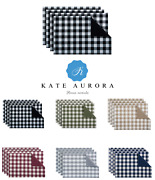 4 Pack Gingham Plaid Checkered Country Farmhouse Place Mats - Assorted Colors