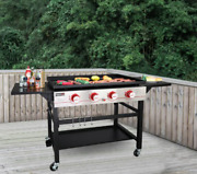 Flat Top Griddle Bbq Grill Hibachi Cooking Station 4 Burner Side Tables Outdoor