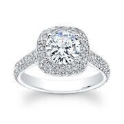 1.95 Carat Real Diamond Moissanite Engagement Ring Solid 14k White Gold All Size
