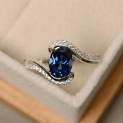 1.87 Ct Diamond Blue Gemstone Christmas Party Ring 14k White Gold Ring All Size_