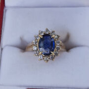 Solid 14k White Gold 1.75 Ct Natural Diamond Blue Sapphire Gemstone Rings 6 7 5