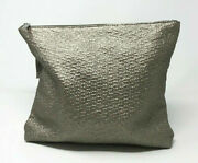 Space Nk Apothecary London Metallic Gold Weave Texture Faux Leather Makeup Bag