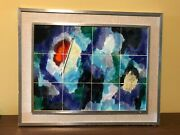 Mid Century Harris Strong 12 Tile Framed Wall Art. Abstract.