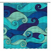 Ocean Wave Shower Curtain Abstract Art Stripes Nautical Navy Blue Retro Colorful