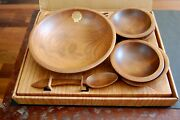 Vintage Woodcroftery 7 Piece Salad Set Wood Bowls Utensils Made In America