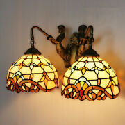 Victorian Style Vanity Lighting Mermaid Light Fixture Stained Glass Wall Sconce