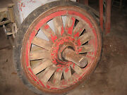 Rare Vintage Set Of 4 Solid Hard Tire Wooden Spoke Trailer Truck Wheels, Circus