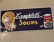 Campbells Soup Can Porcelain Sign Baby Indian 1995 Ad Rare Ande Rooney Collectib