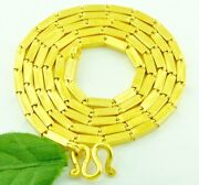 9999 24k Solid Yellow Gold Handmade Baht Box Chain Necklace 32.70 Grams 17 Inch
