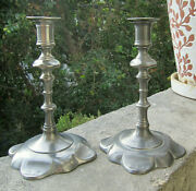 Vintage Collectible Pair John Somers Js X Mg Brazil 5 Pewter Candlestick Holder
