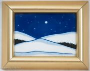 Vintage Porsgrund Painted Tile Night Time Landscape With Moon By Anne Marie Odeg