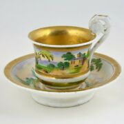 Antique Russian Gilt Porcelain Tea Cup With Saucer,early 19thc