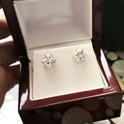 1.00 Carat Brand New Real Round Cut Diamond 6 Prong Stud Earrings 14k White Gold