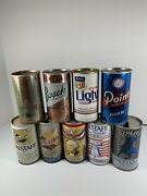 Lot Of 9 Vintage Pull Tab Beer Cans Falstaff Schlitz Bosch Point Michelob